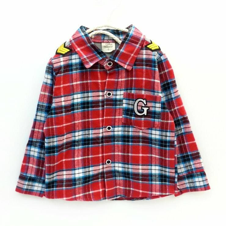 【班比納精品童裝】磨毛G字格子襯衫-紅【BO140813027】