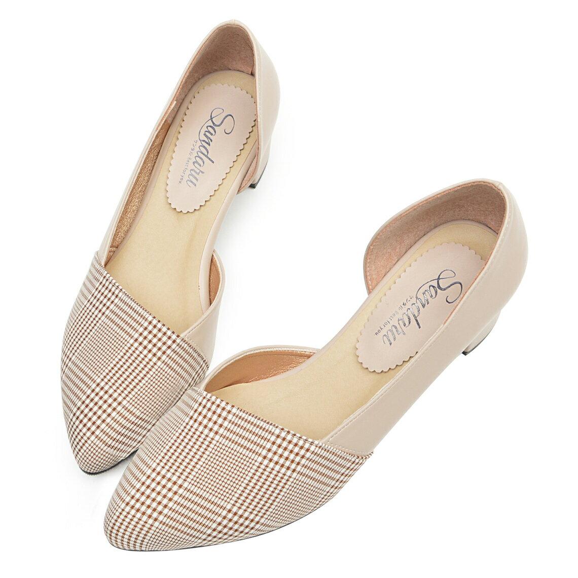 尖頭鞋 千鳥格紋側簍空低跟鞋-米