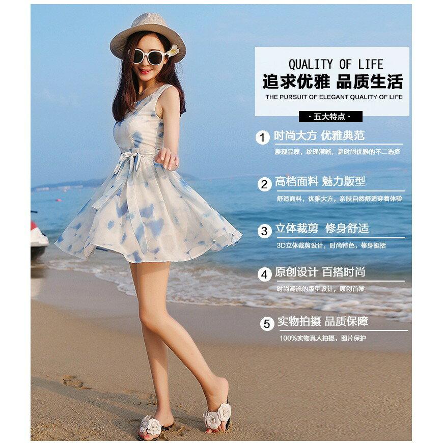 韓版時尚潮流xs夏無袖雪紡洋裝波西米亞海邊沙灘裙小個子女裝顯高店150cmLB13977《小蘿莉》 4