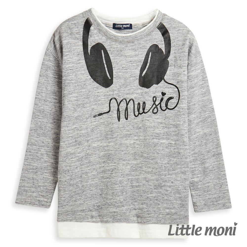 Little moni 耳機印圖上衣-麻花灰(好窩生活節) 1