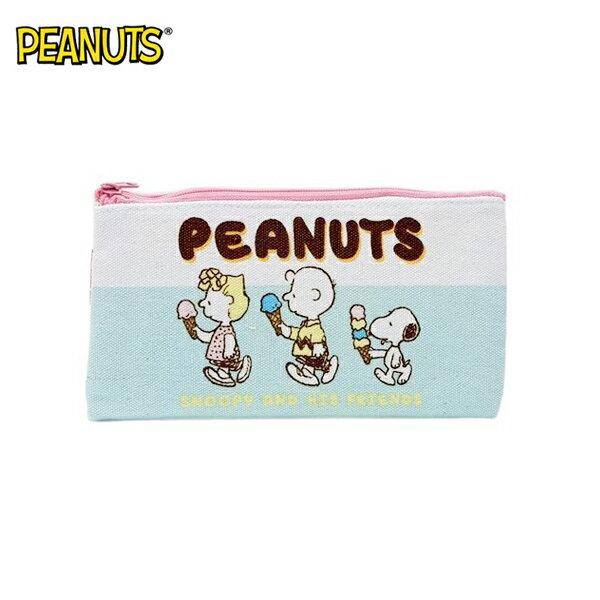 冰淇淋款【日本正版】史努比帆布扁筆袋M號鉛筆盒筆袋收納包SnoopyPEANUTS-295095