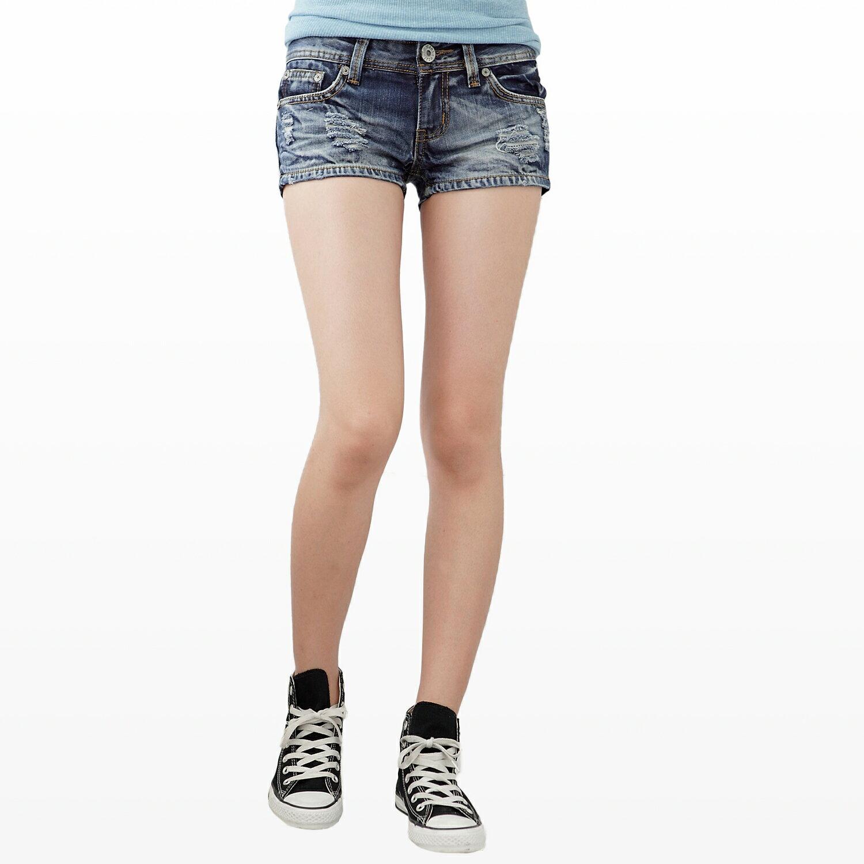牛仔短褲--俏麗性感藍色系勻染刷破兩分牛仔超短褲(S-7L)-R34眼圈熊中大尺碼 1