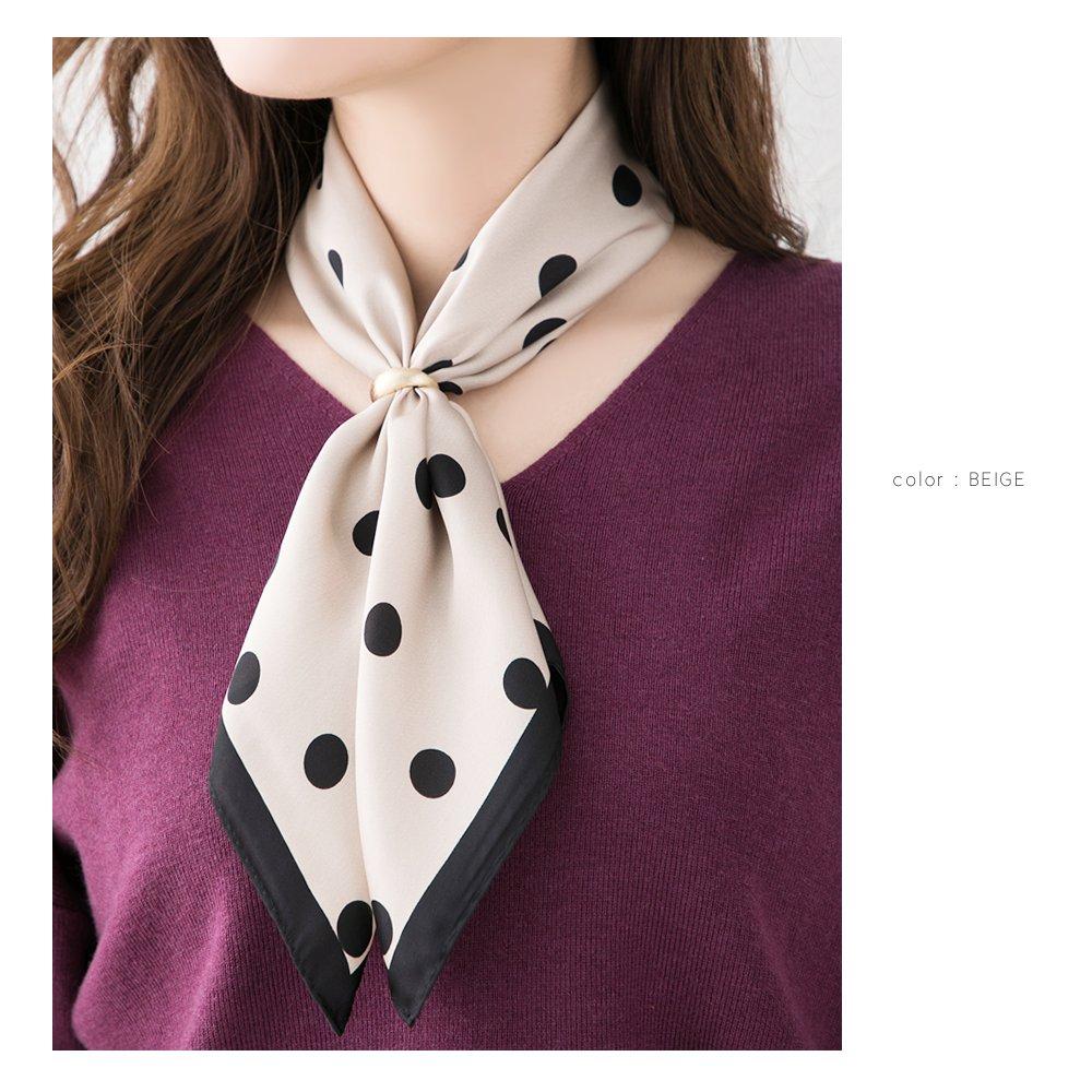 日本CREAM DOT  /  スカーフ 正方形 ファッション小物 バッグ ドット柄 くすみカラー 大人 上品 エレガント 華奢 シンプル フェミニン モカ ベージュ ブラウン ブラック  /  a03515  /  日本必買 日本樂天直送(1690) 5