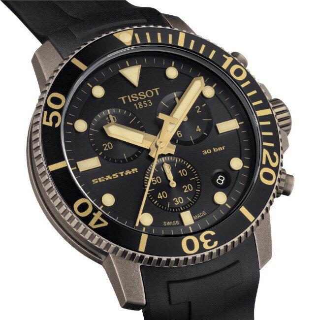 TISSOT 天梭表 T1204173705101 SEASTAR 1000 CHRONOGRAPH 海洋之星潛水機械腕錶 / 黑 45.5mm 2