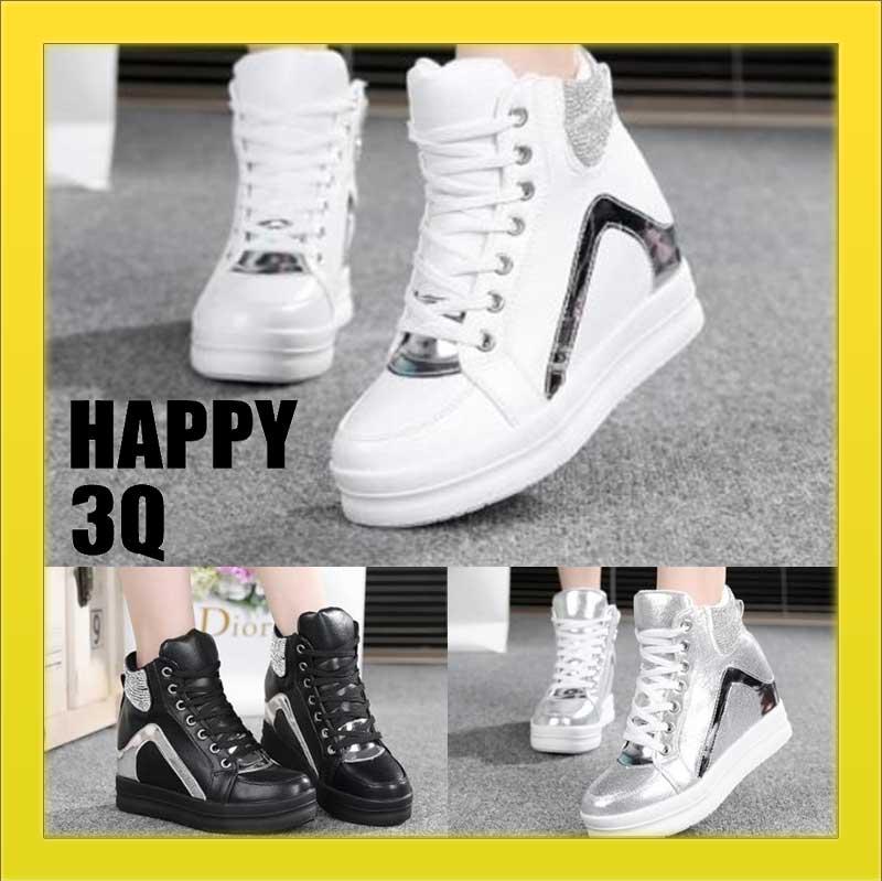 街頭休閒時尚水鑽好穿搭隱形心機內增高運動鞋坡跟鞋-白/銀/黑35-39【AAA0870】