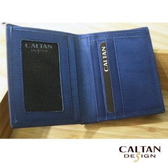CALTAN - 輕熟男簡約款3卡左翻鈔票短夾 - 1762ht-blue