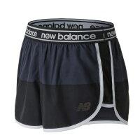 New Balance 美國慢跑鞋/跑步鞋推薦New Balance 女裝 短褲 慢跑 平織 透氣 反光LOGO 針織小裡褲 藍 黑【運動世界】AWS81146BGR