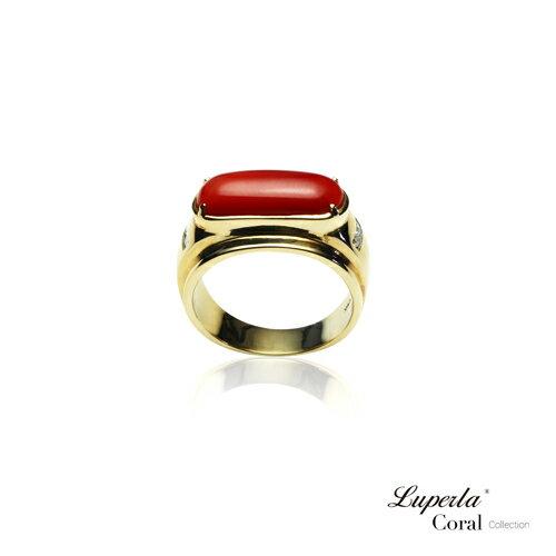 大東山珠寶 典藏 頂級深紅阿卡珊瑚真鑽14K金戒指 1