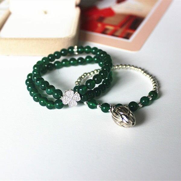 【晶誠】天然水晶新款原創設計綠瑪瑙銀四葉草大花苞多層手鏈