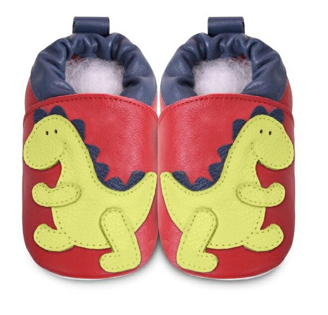 【hella 媽咪寶貝】英國 shooshoos 安全無毒真皮手工鞋/學步鞋/嬰兒鞋 紅色/綠恐龍(公司貨)