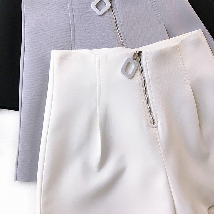 短褲 素色 壓摺 金屬 拉鍊 時尚 寬管褲 百搭 短褲【HA847】 BOBI  02 / 14 9
