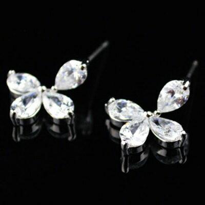 ~925純銀耳環鑲鑽耳飾~優雅甜美花朵 情人節生日 女飾品2色73hz27~ ~~米蘭 ~
