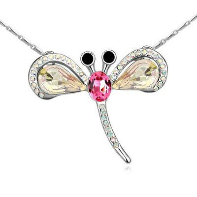 ~925純銀項鍊水晶吊墜~甜美可愛蜻蜓公主情人節生日 女飾5色73bb109~ ~~米蘭