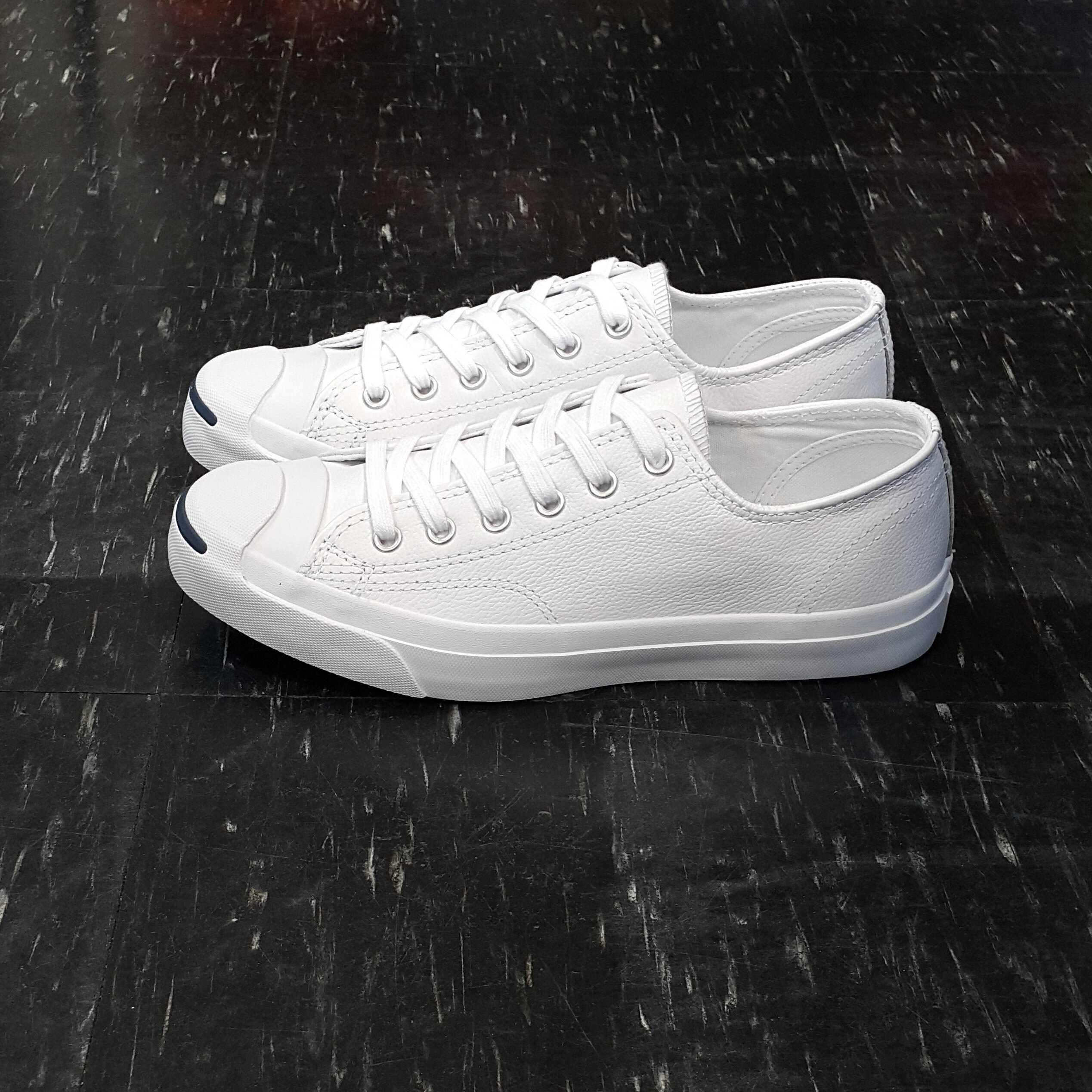 Converse Jack Purcell Leather 開口笑 基本款 白色 全白 皮革 荔枝皮 低筒 經典款 1S961