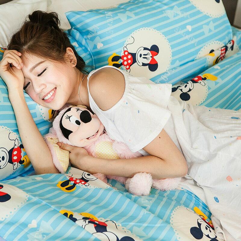 新品!床包 / 雙人【米奇手牽手-藍】含兩件枕套,磨毛多工法處理,迪士尼正版授權,戀家小舖台灣製