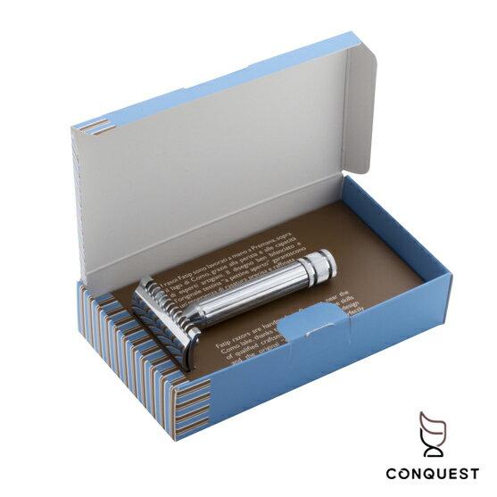 【 CONQUEST 】義大利 FATIP 42107傳統安全刮鬍刀 開放式刀頭 把柄中空設計 加贈五片Derby刀片