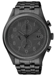 CITIZEN星辰CA0625-55E時刻潮流光動能三眼計時腕錶黑42mm