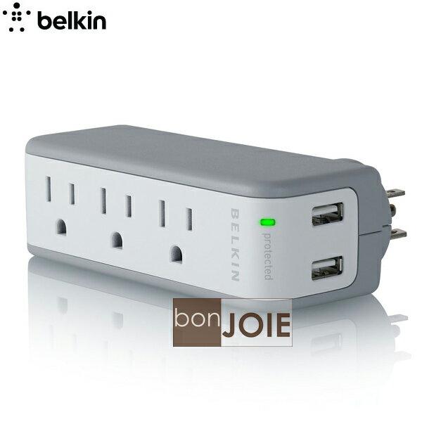 ::bonJOIE:: 美國貝爾金 Belkin Mini Surge with USB Charger 迷你三孔插座 + 雙 USB 插座 防突波 電源延長線