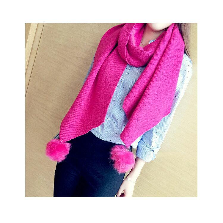 圍巾 素色毛球針織百搭披肩/圍巾【LQD260】 BOBI  10/20 1
