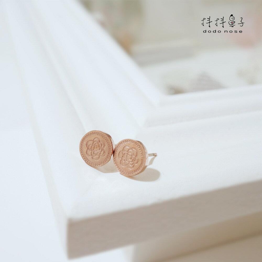 奢華雕刻玫瑰金耳環 0
