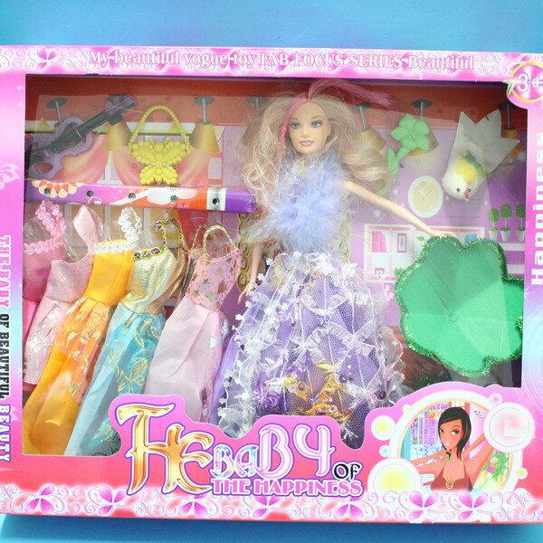 芭比娃娃  5件衣服 洋娃娃  一盒入 { 促280 } ~睿