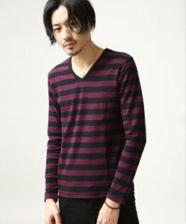 橫條紋T恤BLACK×WINE