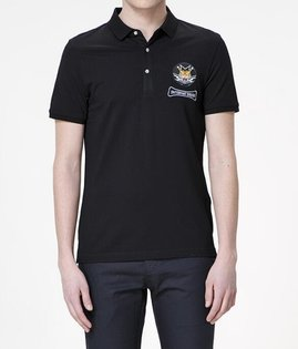 FINDSENSEMD韓國男街頭時尚潮翻領老虎刺繡POLO衫短袖T恤特色T恤圖案T