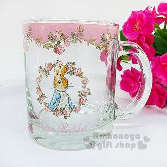 〔小禮堂〕彼得兔 玻璃馬克杯《透明.粉.玫瑰花圈.350ml》