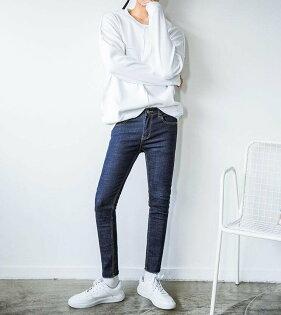FINDSENSEZ1韓國時尚潮男修身簡約水洗鉛筆褲小腳褲九分褲牛仔褲學生褲