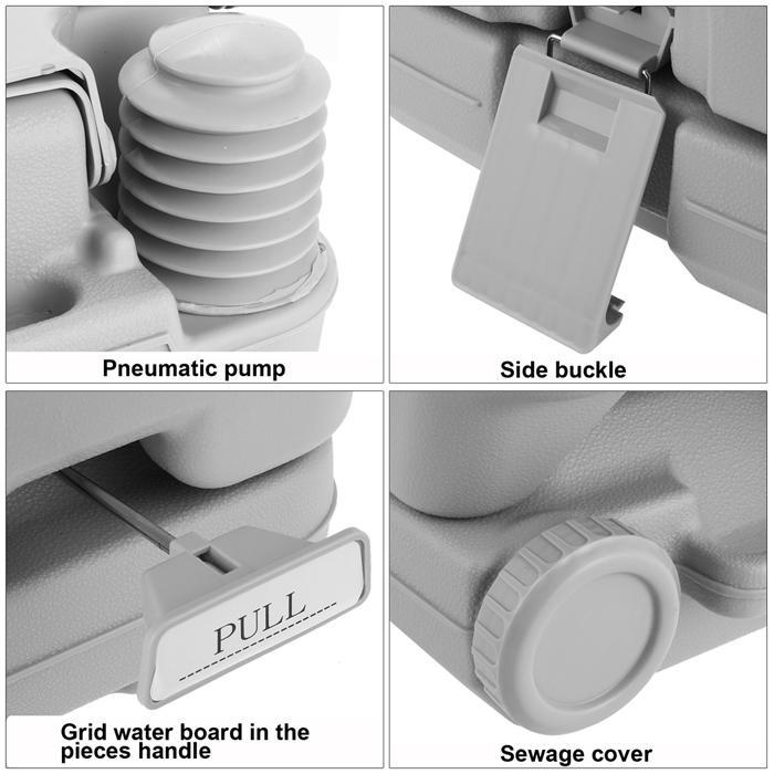 2.8 Gallon 10L Portable Toilet Travel Camping Outdoor/Indoor Toilet Potty Flush 4