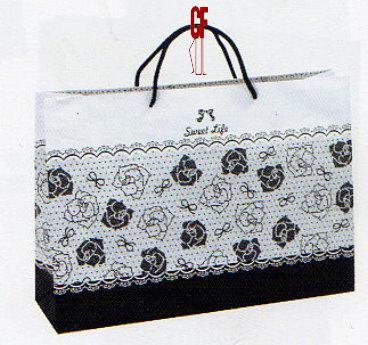 紙袋2K~20入~黑~蕾絲玫瑰~棉把手 pbag~016