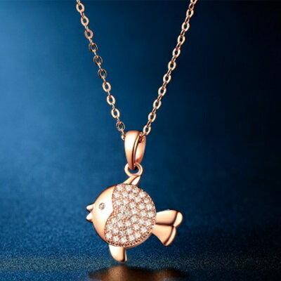 ~玫瑰金925純銀項鍊 鑲鑽吊墜~精緻迷人小魚 生日情人節 女飾品73hj7~ ~~米蘭