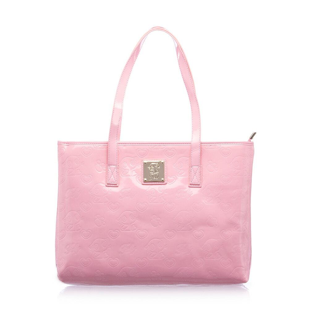 【FELY】甜美愛戀粉印系列購物包(粉色)