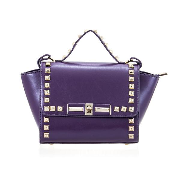 PrincessParty 鉚釘中型真皮手提韓版女包(紫色)
