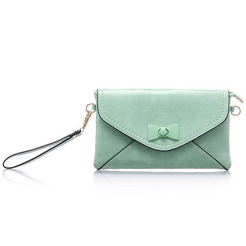 PrincessParty 甜蜜馬卡龍蝴蝶結金鏈側背包手拿包-淺綠