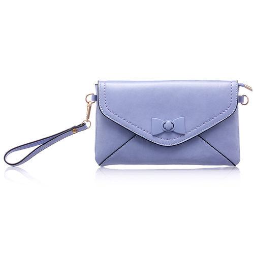 PrincessParty 甜蜜馬卡龍蝴蝶結金鏈側背包手拿包-淺藍