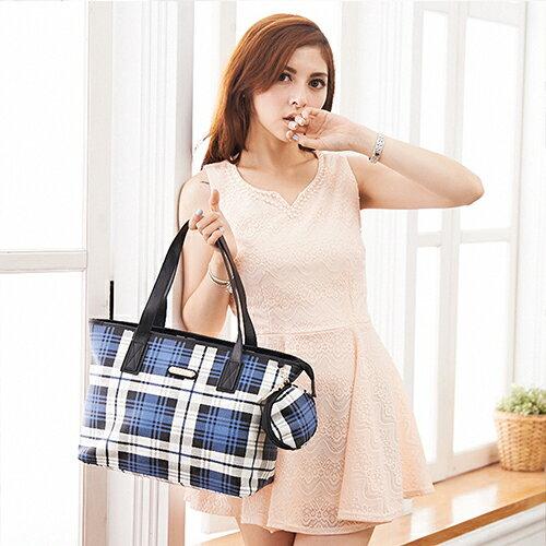 【XINWEI POLO】經典唯美藍格購物包附零錢包