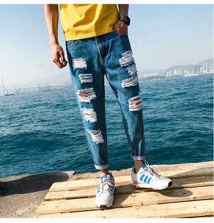 FINDSENSEH12018夏季破洞牛仔褲小腳休閒褲男藍色九分褲潮男褲