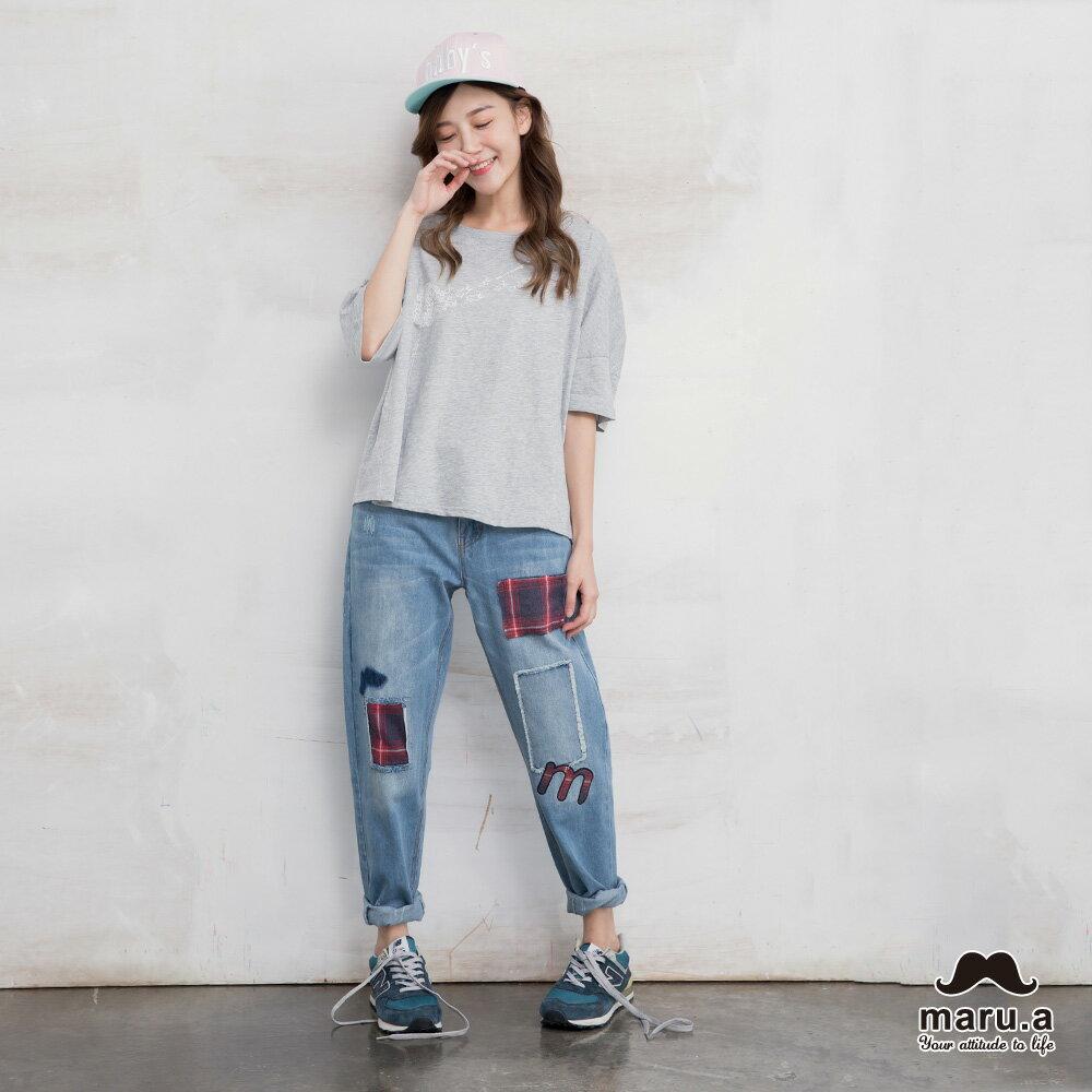 【maru.a】破壞感格紋補丁九分牛仔褲(2色)7915216 3