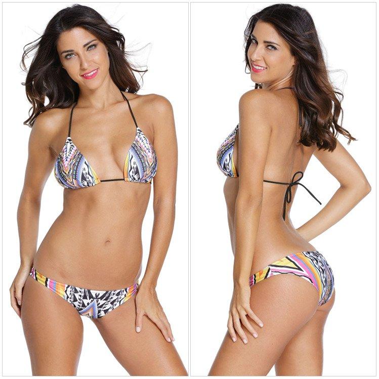2016  沙灘比基尼性感多彩印花低腰三點式泳裝 2色 附胸墊 41855