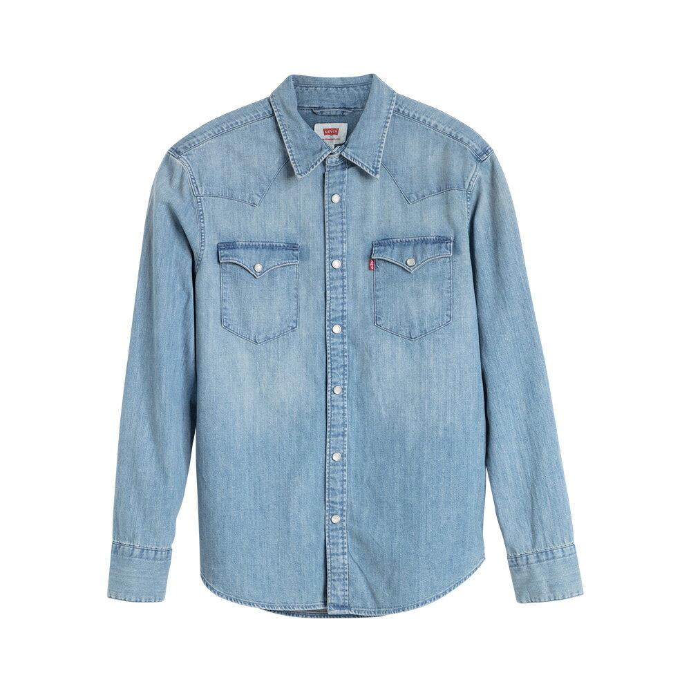 Levis 男款 牛仔襯衫 / Barstow 經典V型雙口袋 / 休閒版型 / 淺藍水洗-AC