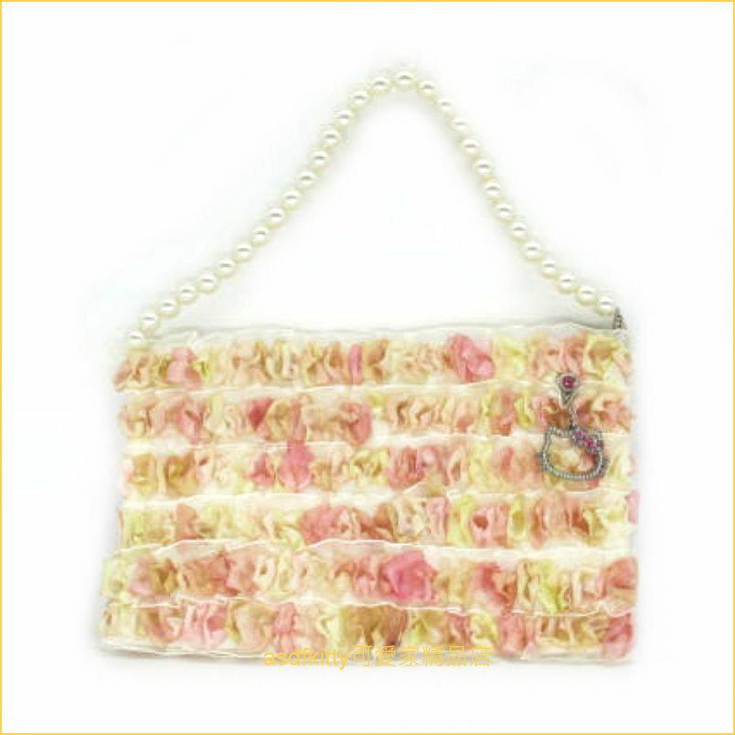 asdfkitty可愛家☆KITTY水鑽蕾絲手提包/化妝包/收納包/手機包-日本正版商品