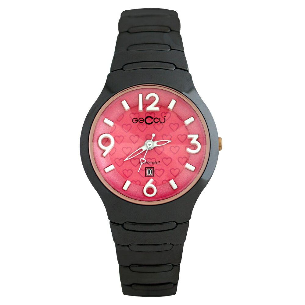 GECCU TC-1115 炫麗可愛心型切玻鏡面黑色陶瓷錶帶*5色 4