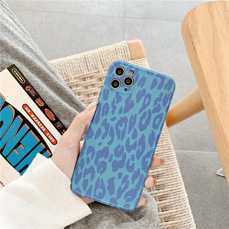 樂天精品 iPhone12 蘋果手機殼 預購 可掛繩 深藍豹紋 矽膠軟殼 i11/iX/i8/i7/SE