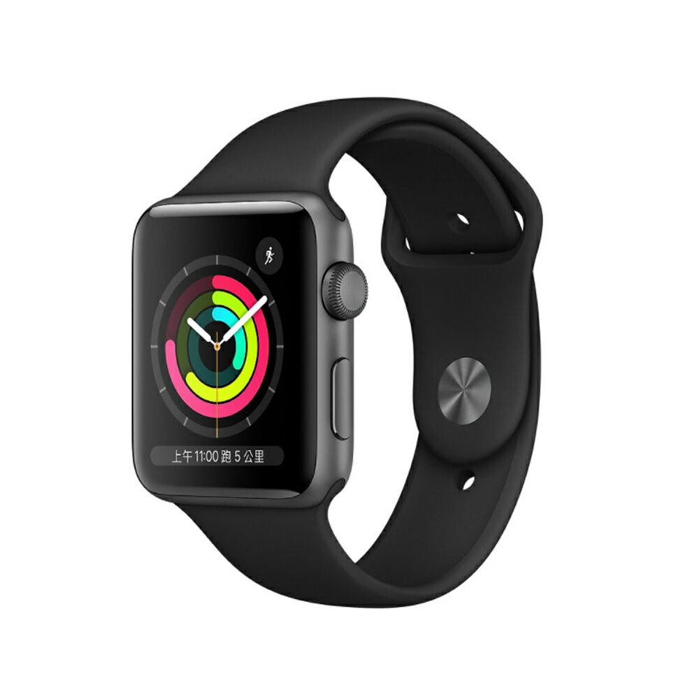 ( 刷指定卡享10%回饋 ) Apple Watch Series 3 GPS 版 38mm/42mm 太空灰鋁金屬錶殼配黑色運動錶帶