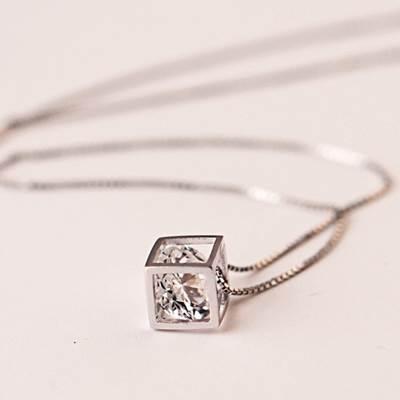 ~~925純銀~項鍊 鑲鑽吊墜~簡約復古方形 母親節生日情人節 女飾品73as6~ ~~米