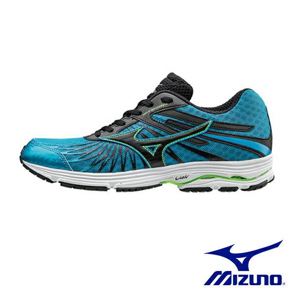 【MIZUNO 促銷6折│全店免運】MIZUNO(男) WAVE SAYONARA 4 一般型慢跑鞋 / 藍x黑 - J1GC163010