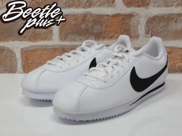 女生 BEETLE PLUS 現貨 NIKE CORTEZ (GS) 阿甘鞋 慢跑鞋 全白 黑勾 白黑 復古 749482-102 D-587 1