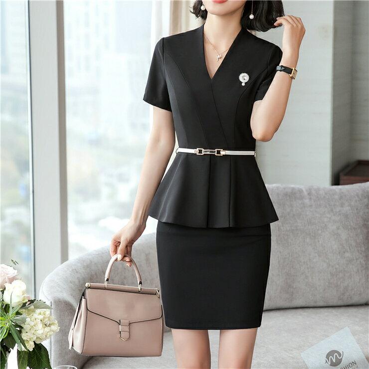 全家199   商務黑色短袖兩件套獨特收腰式 洋裝送胸針