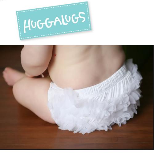 ★啦啦看世界★ Huggalugs 澳洲國民小童 / 白雪紡屁屁褲 尿布褲 小短褲 嬰兒彌月禮 出生 滿月 月子 chic baby rose